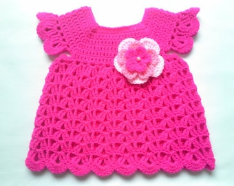 Crochet baby dress PATTERN tutorial, PDF file, pink baby girl dress