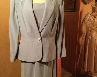 25%Off Vintage Donna Morgan Silk Linen Evening Suit Dress Suit/Sz 12