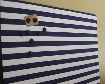 "Magnet Board (18"" x 24"") , Memo board, Navy blue and white stripes, office, organization, Magnetic Bulletin board"