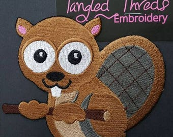 "Wide-eyed Beaver Embroidered Patch 5.1"" x 4.8"""