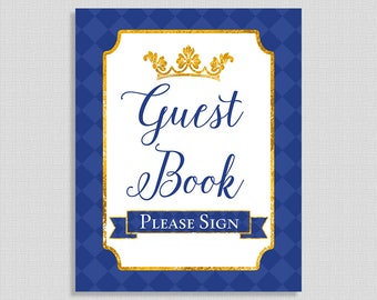 Guest Book Shower Sign, Prince Royal Blue & Gold Baby Shower Sign, Party Sign, INSTANT PRINTABLE