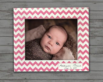 Personalized Chevron Photo Frame- baby frame- photo frame- variety of colors- 4x6, 5x7, and 8x10