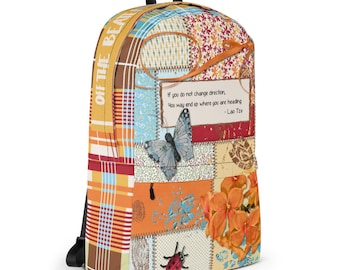 Happy Backpack with Flowers and Ladybug and Butterfly - laptop compartment, water resistant