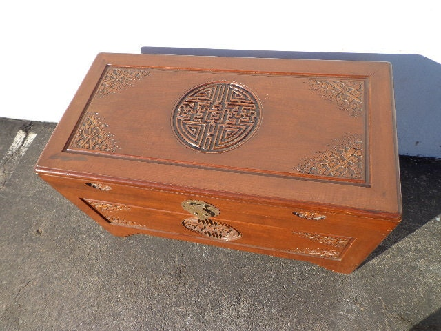 Asian Inspired Chinoiserie Trunk Coffee Table Hope Chest Blanket Bed Bench  Wood Chinese Carved Wood Eclectic Storage Heirloom Entry Way Boho