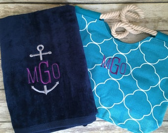 Personalized Tote and Towel Set, Monogrammed Beach Towel & Bag Set, Monogrammed Beach Towel, Monogrammed Tote Bag