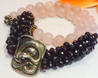 Stunning Sterling Silver Snake Medallion Garnet Rose Quartz Vintage Necklace