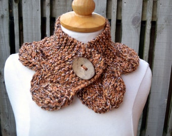 Knitted cowl scarf scarflette neckwarmer collar coconut button gift for her wool blend yarn