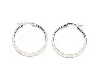 Hoop Earrings - Nickel Free - Silver Plated - 30mm - 2 Pieces (dar1999283)