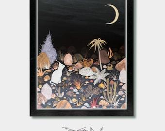 Moon - Under The Light of The Moon - Cat, Boho Decor, Celestial, Desert, Arizona, Hawaii, Cactus Decor, Mid Century Modern, Animal Prints
