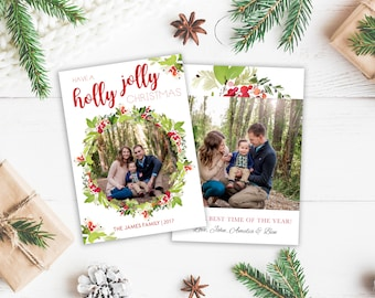 Christmas Card Template - Wreath Christmas - Christmas Template for Photoshop - Photographer Template - Digital Design