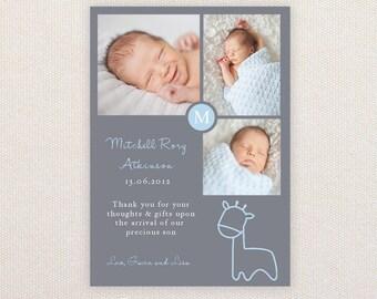 Boys Photo Birth Announcement. Giraffe. I Customize, You Print.