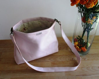 Blush/ Nude/ Pale pink Leather Bag/ Clutch with a Flex Internal Frame