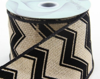 Wired Burlap and Black Chevron Ribbon ~ 2.5 inchChevron Ribbon ~  Wired Jute Chevron Ribbon ~ 3 Yards