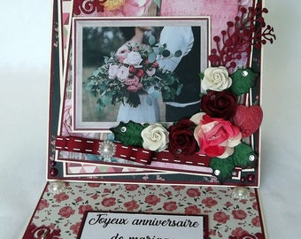 Wedding birthday card, handmade shabby, 3D, card to ask
