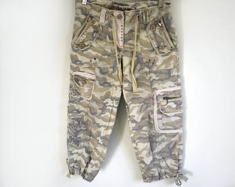Mur Mur Linen/ Cotton Embellished Cargo Pants In Camouflage Size Small Juniors