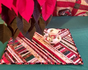 Quilted Table Runner, Christmas Table Topper, Centerpiece Mat, Unique Selvage Mat, 16 x 19.75 inches, Great Seasonal Decor. Gift.