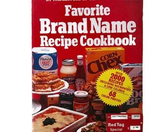 Vintage Brand Name Cookbook, 1980s, Favorite Brand Name Recipe Book, Large Format Softcover, 1981 Vintage Kitchen,