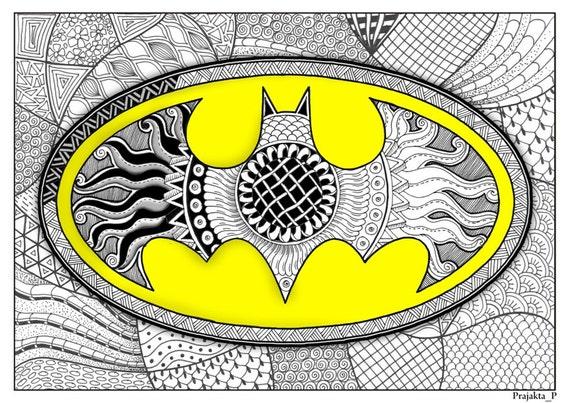Adult Coloring Page Batman Superhero