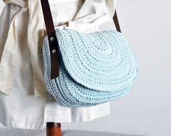 Sky blue messenger bag women saddle purse crochet handbag crossbody saddle bag messenger bag women satchel bag purse blue shoulder bag purse