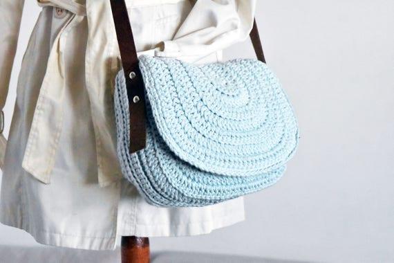 Himmelblau messenger Tasche Frauen Sattel Geldbörse häkeln
