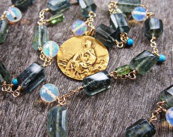 Saint Monica, Antique Catholic Medal Necklace, Moss Aquamarine, Green Tourmaline, Turquoise and Welo Opal, Vintage Religious, Tricard Medal