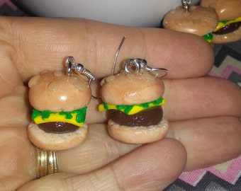Hamburger earrings, fake food earrings
