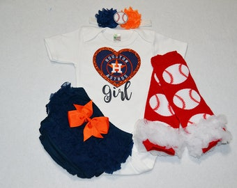 houston astros baby girl outfit - baby girl houston astros outfit - girls houston astros baseball outfit - houston astros baby girl gift