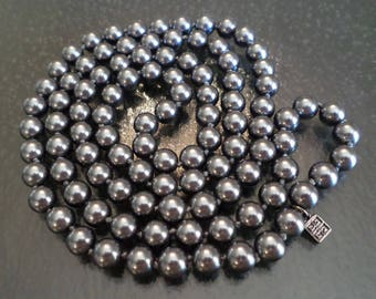Givenchy Tagged, Vintage Dark Gray Glass Pearls Knotted Long Necklace.