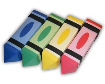 Crayon Digital PDF Gift Box Favor Printable Color Template (custom colors available)