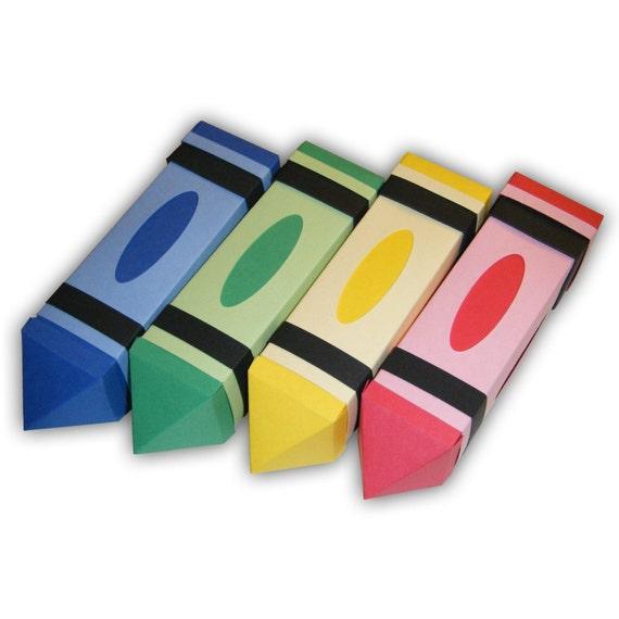 Crayon Digital PDF Gift Box Favor Printable Color Template