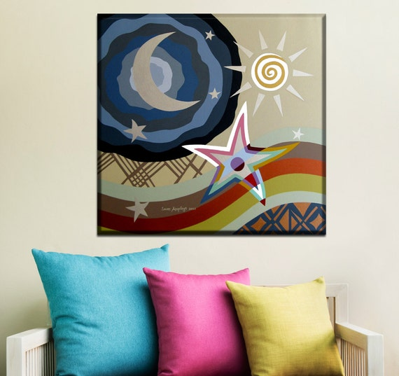 Philosophical Original Painting - Star, Moon & Sun Pop Art Cubism Abstract Art with Metallic Finish