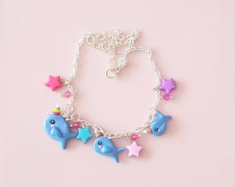 Unicorn whale / dolphin charmed necklace