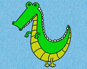 Crocodile - Machine embroidery design - 2 size for instant download