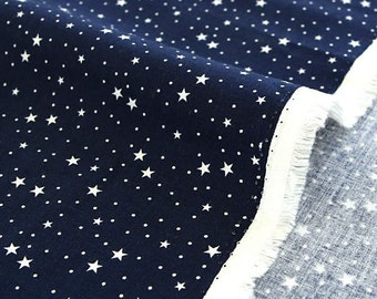 White Stars on Navy Cotton Fabric by Yard (143627) Width: 150cm (59 Inch)