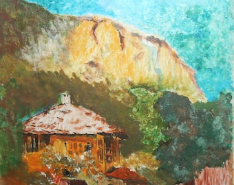 Impressionist oil painting landscape house mountain