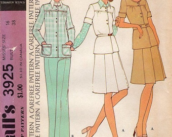 FREE US SHIP McCall's 3925 Vintage Retro 1970s 70s Smock Pantsuit Top Pants Uncut Bust 38 Smock Top  Sewing Pattern Factory Folded Unused