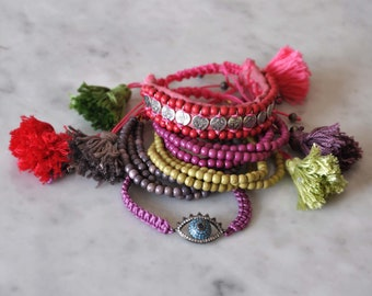 Boho Hippie Set of 5 Bracelets,  Beaded Bracelets,  Arm Candy,  Bohemian Tassel Bracelets,  Evil Eye,  Doll Eye