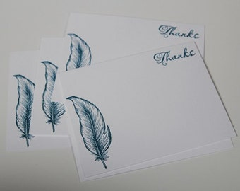 Blue Feather Thank You Note Card Set, Hand Made Feather Stationery Set, Masculine Note Cards