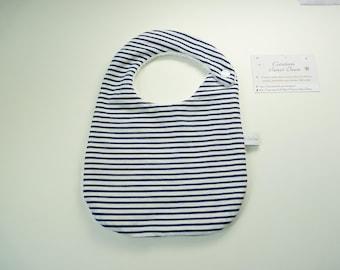 Bib birth sponge boy size 0 / 6 months, Navy blue stripes