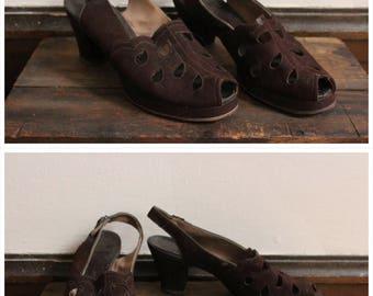1940s Heels // Airstep Brushed Leather Peep Toe Heels // vintage 40s slingback heels // 8N