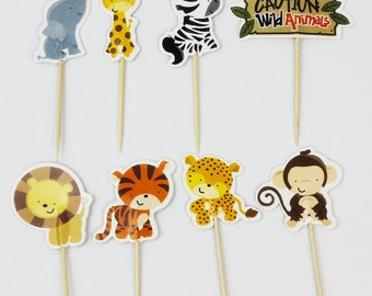 24 pc Caution Wild Animals Jungle Party Supplies Cardboard Cupcake Toppers - 8 assorted Designs with wooden sticks