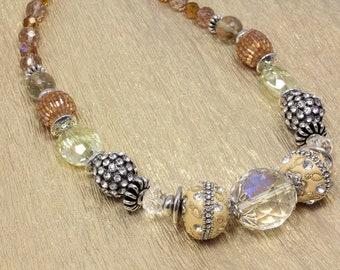 Golden Crystal Chunky Necklace, Rhinestones, Kashmiri Beads, Statement Necklace, Chunky Bling, Prom, Artisan Beads, Wedding