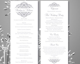 "Wedding Ceremony Program Template Tea Length ""Grace"" Silver Gray Order of Service Word.doc Instant Download ALL COLORS Available DIY U Print"