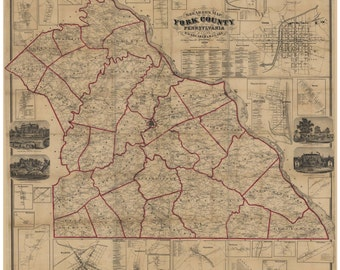 York County Pennsylvania 1860  -  Old Wall Map with Homeowner Names -  Reprint
