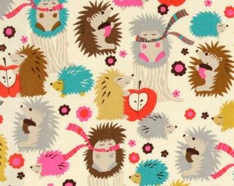 Hedgehog Meadow on Cream From Michael Miller Fabrics