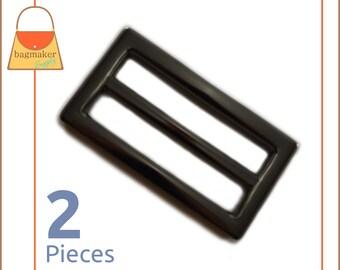 "1.5 Inch Flat Cast Center Bar Slide, Gun Metal Finish, 2 Pack, Purse Handbag Hardware Supplies 1-1/2"", 1-1/2 Inch Gunmetal         BKS-AA093"