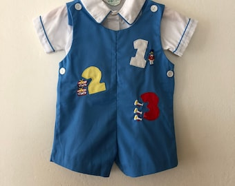 Vintage Baby Toddler Soldier Romper Shortalls, Vintage Baby 2 Piece Outfit Size 18 Months