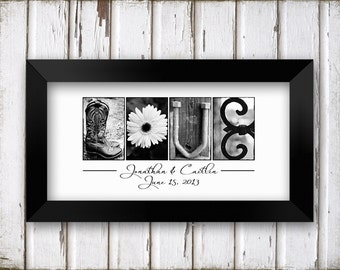LOVE Wedding Gift B&W Alphabet Photography Name Print  UNFRAMED