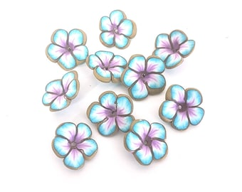 Teal Flower Beads, Violet and Turquoise Flower Beads, Polymer Clay Beads, 10 pieces