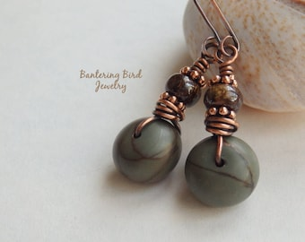 Small Stone Earrings, Earthy Picasso Jasper, Blue with Brown Bronzite, Boho Copper Jewelry